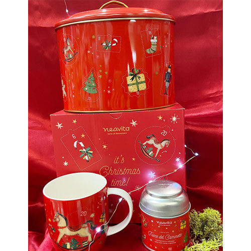 Biscottiera di Natale con Mug e Infuso Neavita