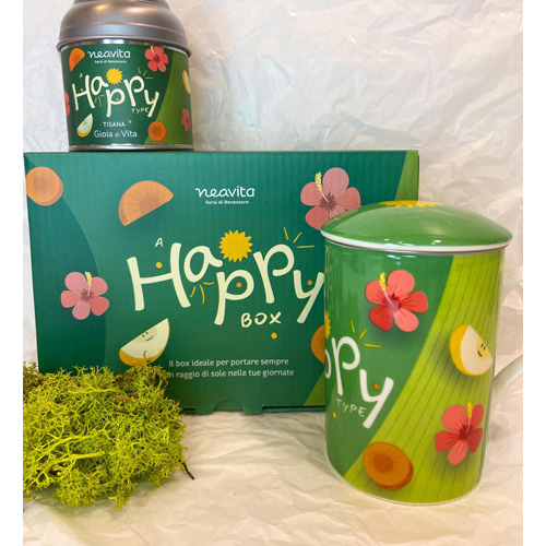 """Happy Box: infusiera e barattolino con tisana """"Gioia di Vita"""""""